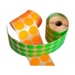 étiquettes rondes papier couleur fluorescent