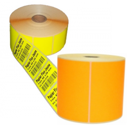 Etiquettes papier Orange fluo